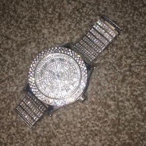 Silver blingy watch